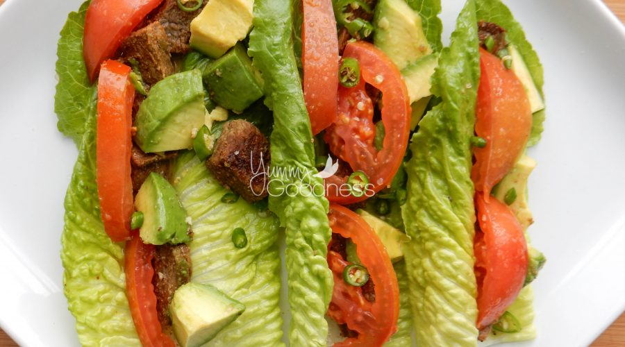 Avocado, Lime, Thai Chile, Steak & Romaine Heart, Tomato Taco