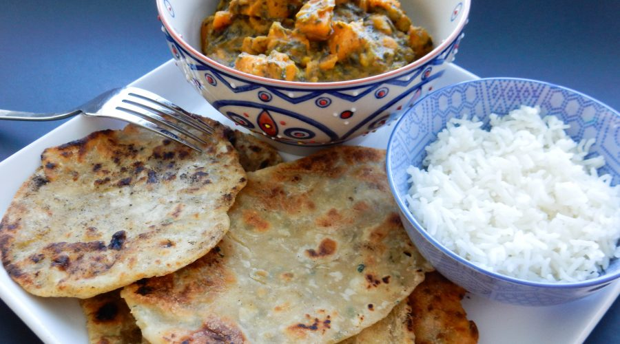 Chickpea Spinach Sweet Potato Coconut Curry with Garlic Scallion Roti & Basmati Rice